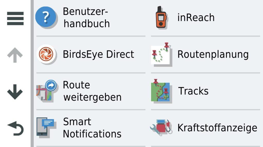 Apps Menü - Rechts die Tracks