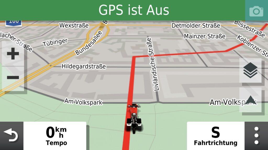 Trackanzeige während der Fahrt ohne aktivierte Navigation