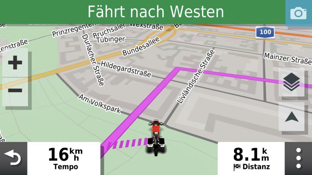 """Aktive Track Navigation mit """"Off Track"""" Strich Linie"""