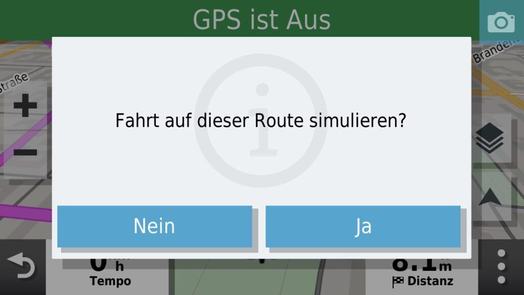 Man kann, bei aktivierter GPS Simulation, auch eine Fahrt auf dem Track simulieren