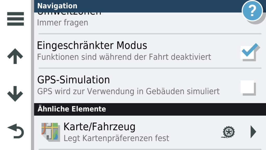 GPS Simulation in den Navigations Einstellungen