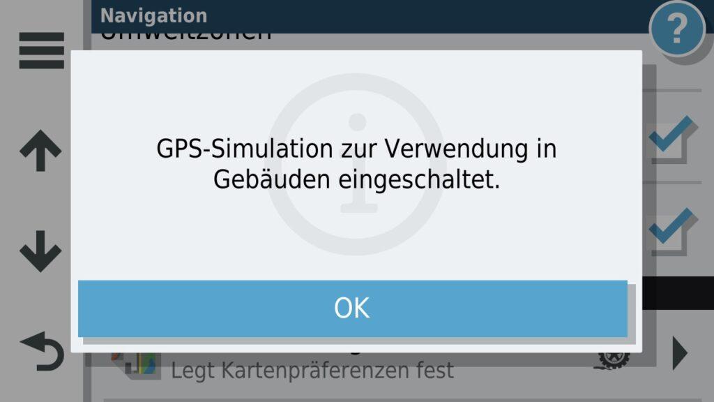 Warnung das GPS Simulation eingeschaltet ist