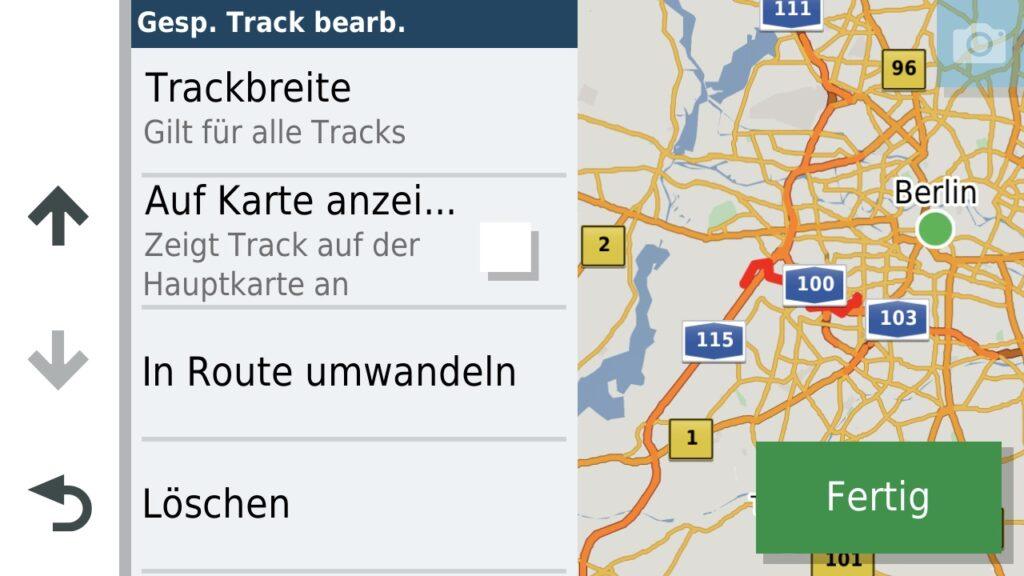 Einstellungen des Tracks - Anzeige auf Karte ist standardmässig deaktiviert